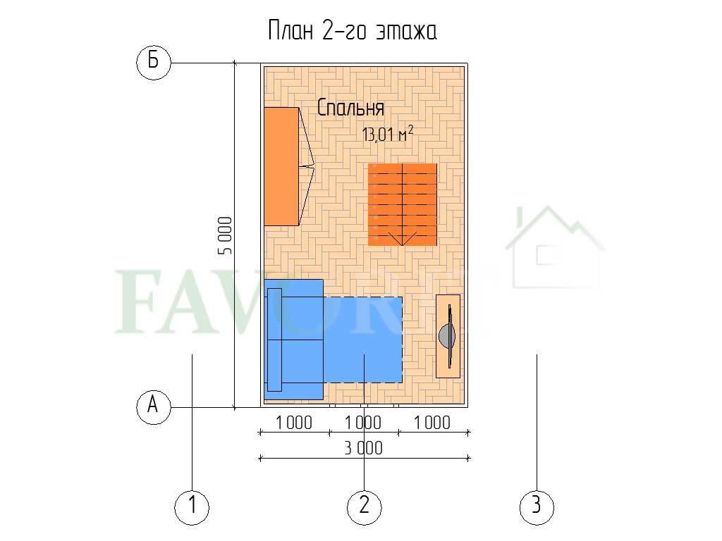 Планировка 2 этажа каркасного дома 5х5