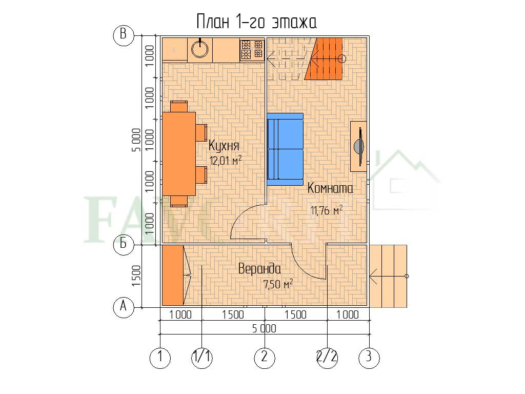 Планировка 1 этажа каркасного дома 5х5 с верандой 1,5х5