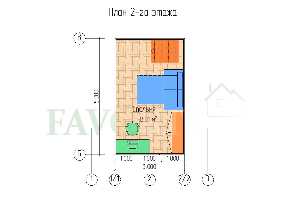 Планировка 2 этажа каркасного дома 5х5 с верандой 1,5х5
