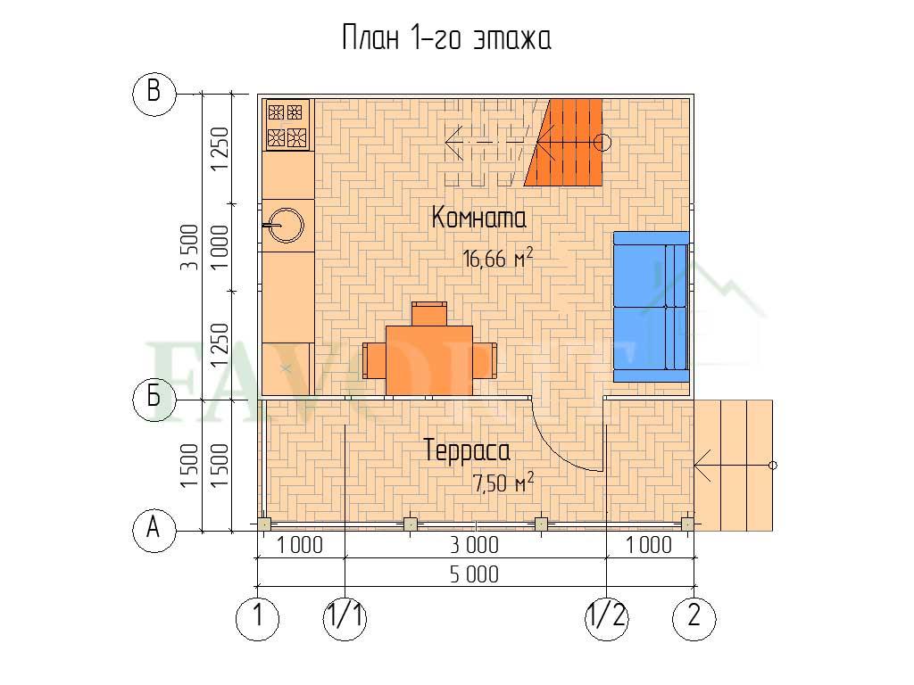 Планировка 1 этажа каркасного дома 5х5 с террасой 1,5х5