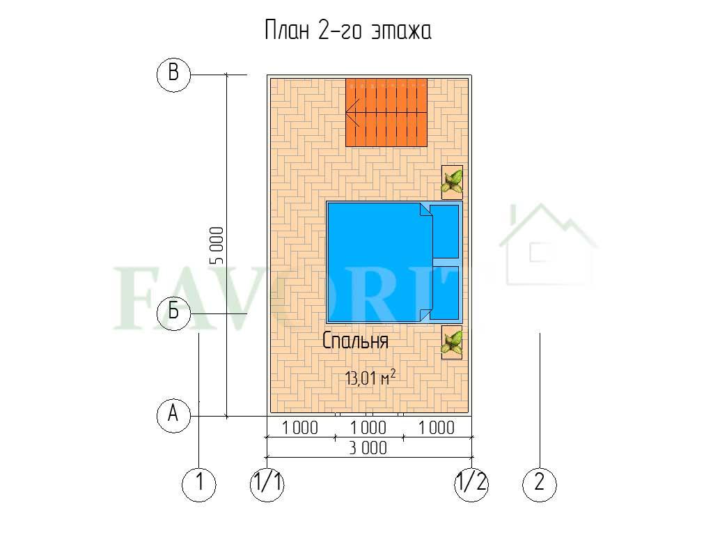 Планировка 2 этажа каркасного дома 5х5 с террасой 1,5х5