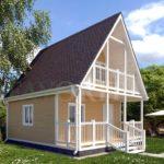 Каркасный дом 5х5 с террасой 1,5х5 и балконом 1,5х3 – фото 1