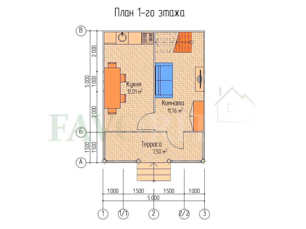 Планировка 1 этажа каркасного дома 5х5 с террасой 1,5х5 и балконом 1,5х3