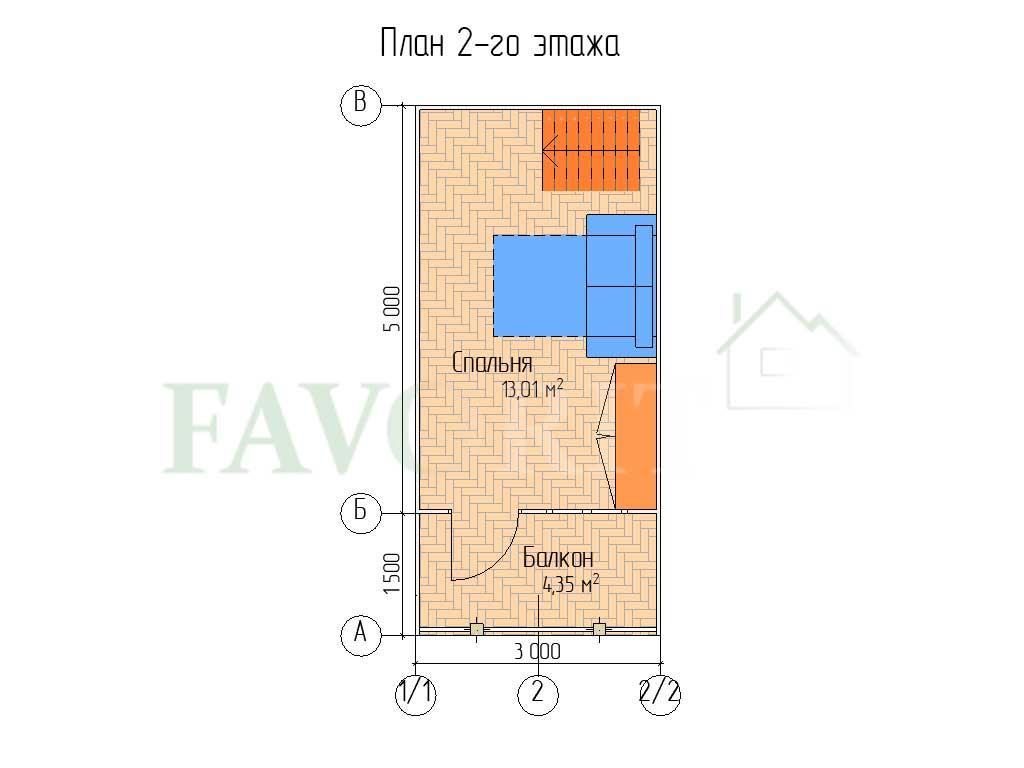 Планировка 2 этажа каркасного дома 5х5 с террасой 1,5х5 и балконом 1,5х3