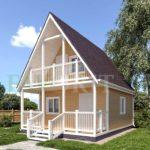 Каркасный дом 5х5 с террасой 1,5х5 и балконом 1,5х3 – фото 2