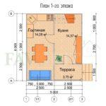 Планировка 1 этажа каркасного дома 5х6 с террасой 1,5х2,5