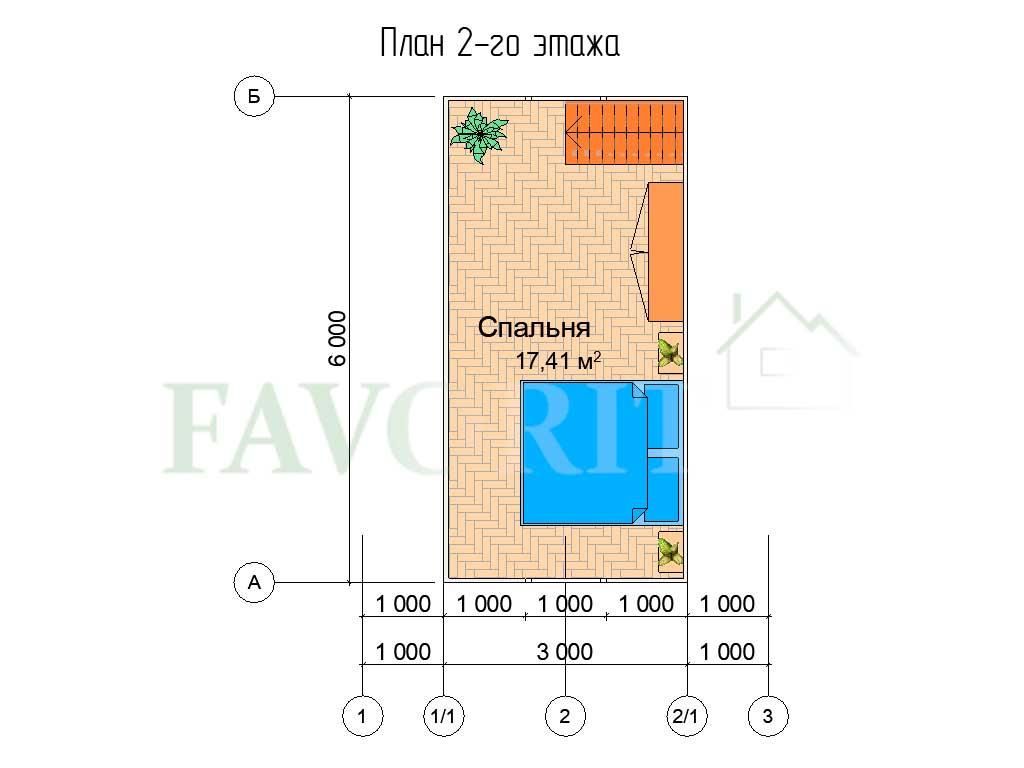 Планировка 2 этажа каркасного дома 5х6 с террасой 1,5х2,5