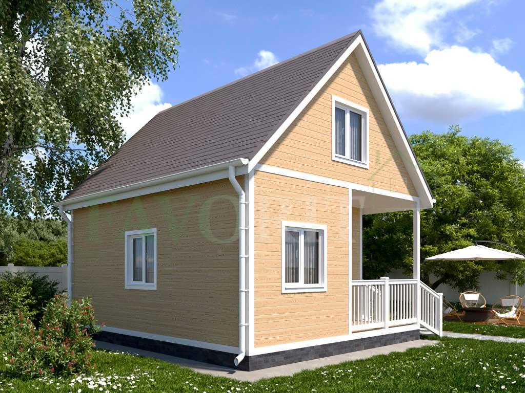 Каркасный дом 5х6 с террасой 1,5х2,5 – фото 1