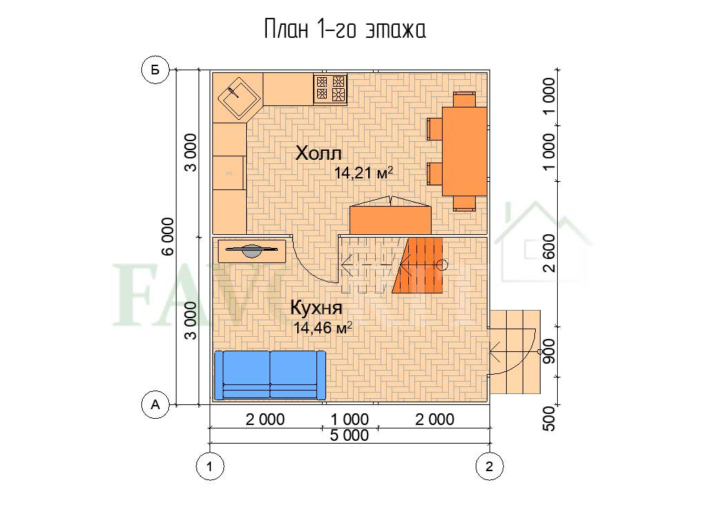 Планировка 1 этажа каркасного дома 5х6
