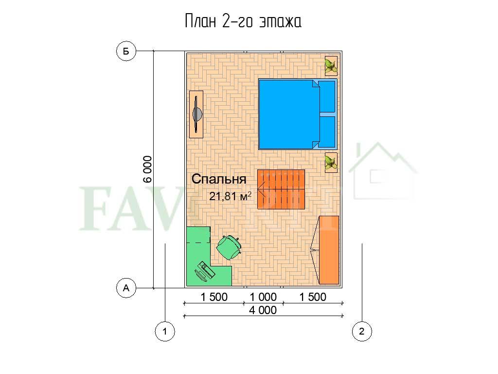 Планировка 2 этажа каркасного дома 5х6