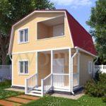Каркасный дом 5х6 с террасой 1,5х2,5 и балконом 1,5х2 – фото 1