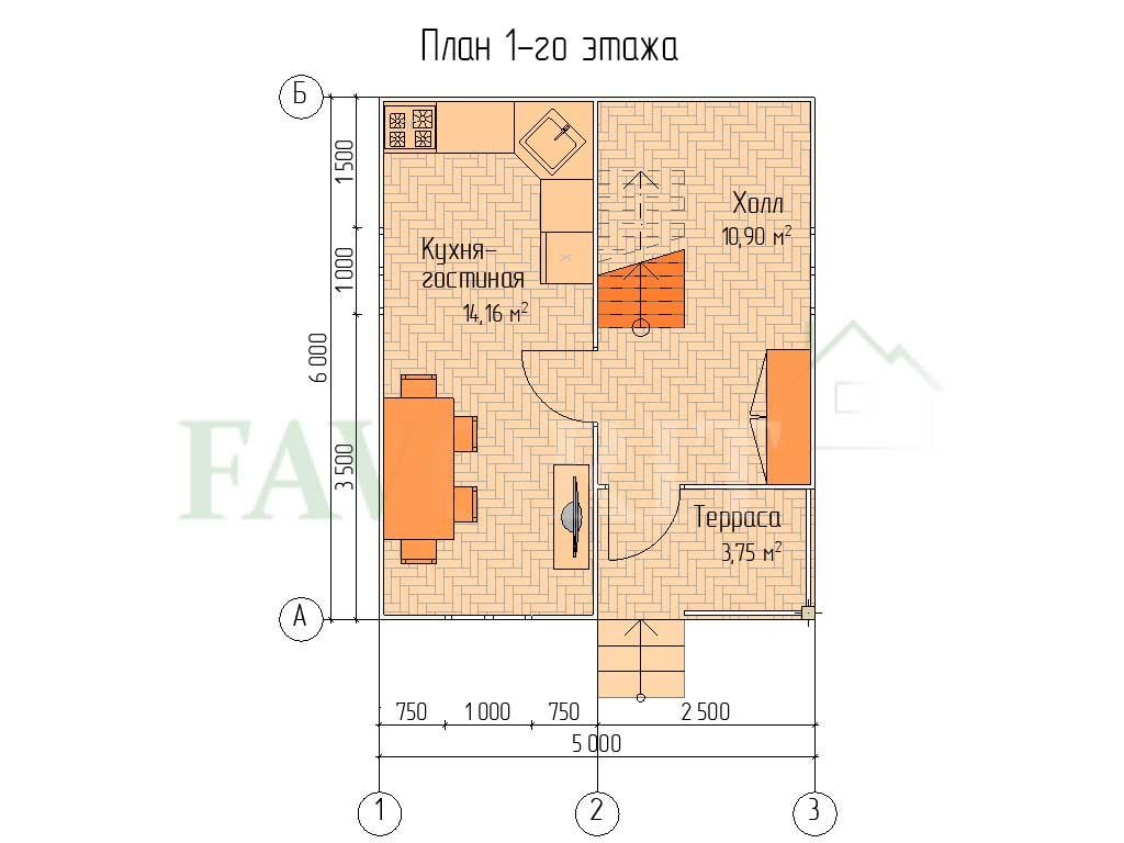 Планировка 1 этажа каркасного дома 5х6 с террасой 1,5х2,5 и балконом 1,5х2