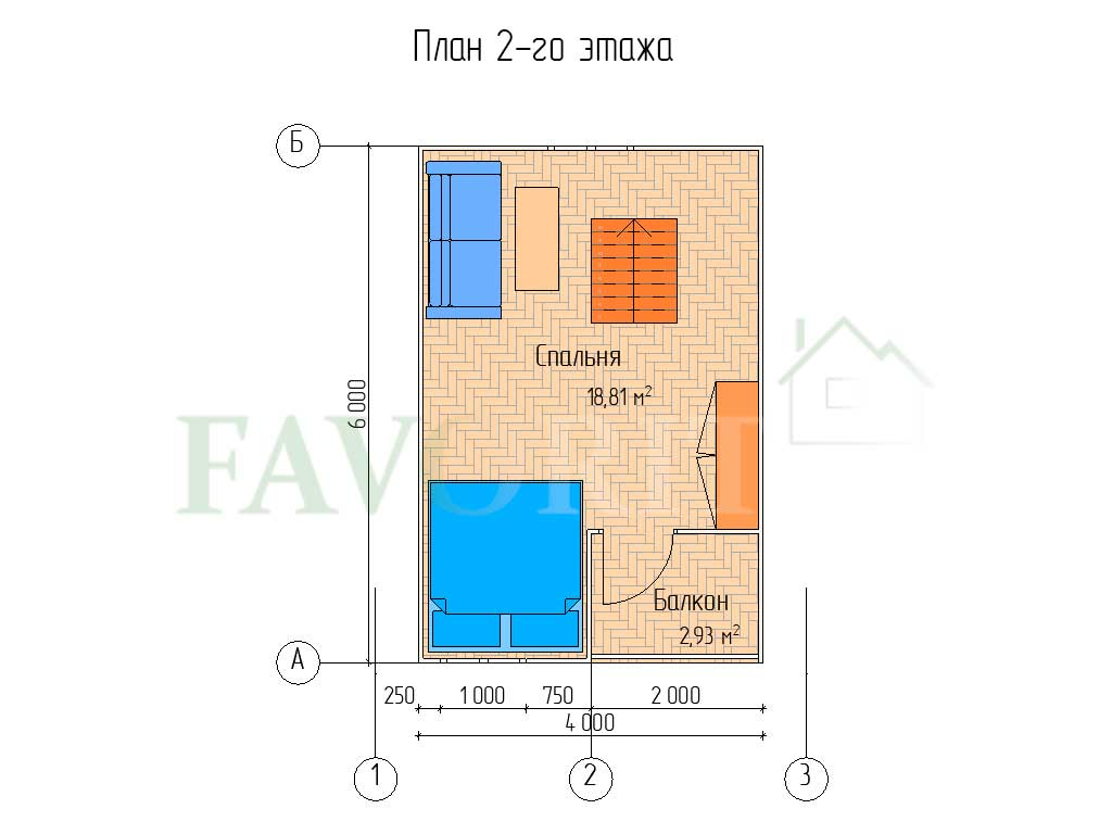 Планировка 2 этажа каркасного дома 5х6 с террасой 1,5х2,5 и балконом 1,5х2