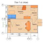 Планировка 1 этажа каркасного дома 5х6 с террасой и верандой 1,5х3