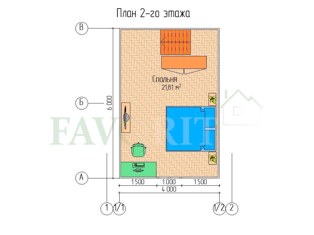 Планировка 2 этажа каркасного дома 5х6 с террасой и верандой 1,5х3