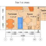 Планировка 1 этажа каркасного дома 6х4 с террасой 1,5х1,5