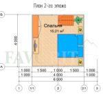 Планировка 2 этажа каркасного дома 6х4 с террасой 1,5х1,5