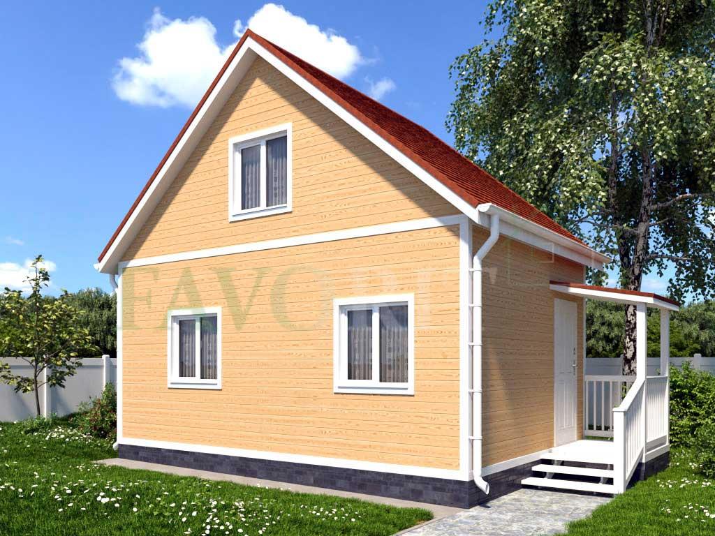 Каркасный дом 6х4 с террасой 1,5х1,5 – фото 1