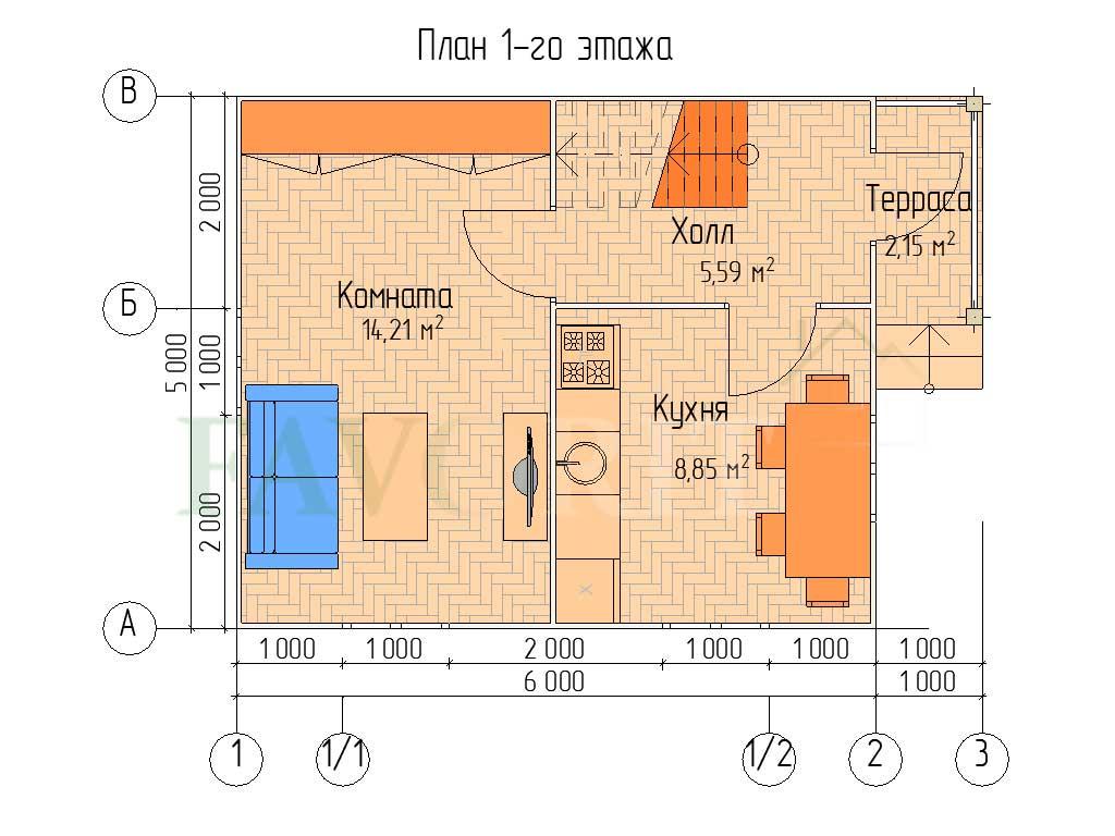Планировка 1 этажа каркасного дома 6х5 с террасой 1х2