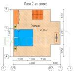 Планировка 2 этажа каркасного дома 6х5 с террасой 1х2
