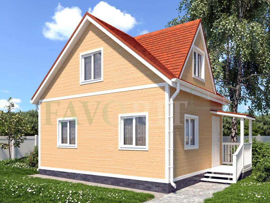 Каркасный дом 6х5 с террасой 1х2 – фото 1