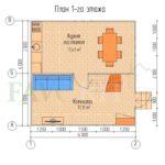 Планировка 1 этажа каркасного дома 6х6