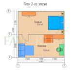 Планировка 2 этажа каркасного дома 6х6