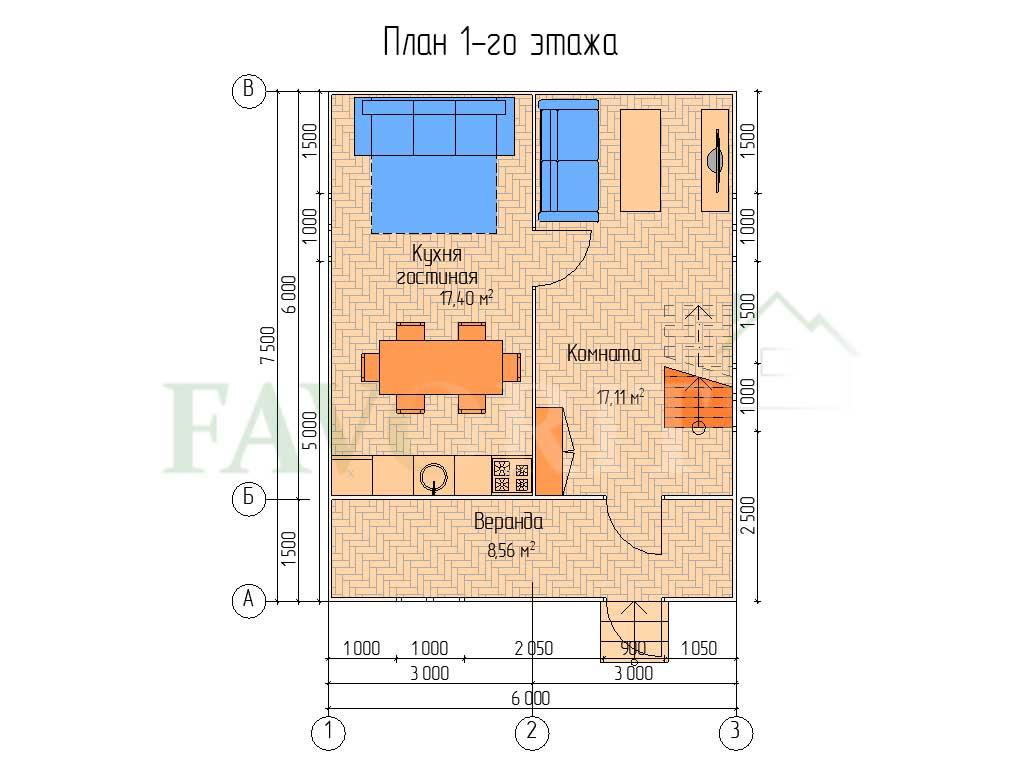 Планировка 1 этажа каркасного дома 6х6 с верандой 1,5х6