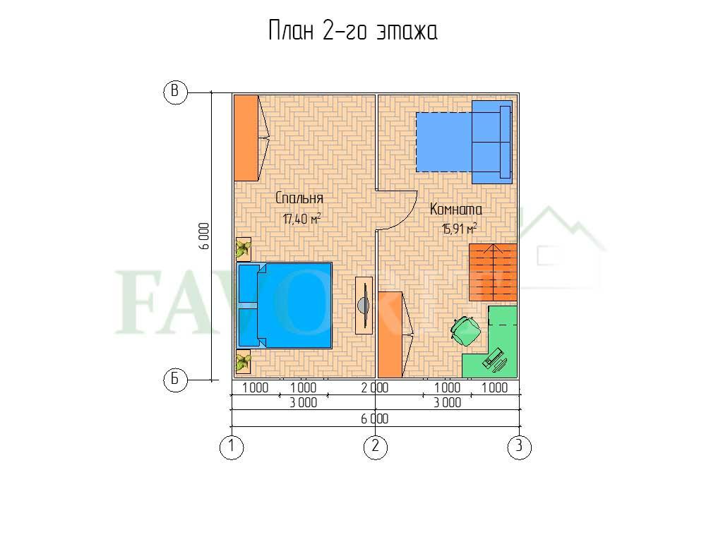 Планировка 2 этажа каркасного дома 6х6 с верандой 1,5х6