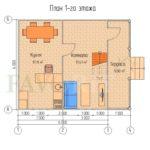 Планировка 1 этажа каркасного дома 6х6 с террасой 1,5х6