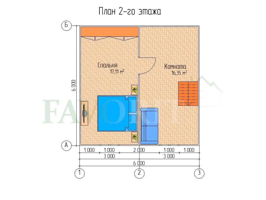 Планировка 2 этажа каркасного дома 6х6 с террасой 1,5х6