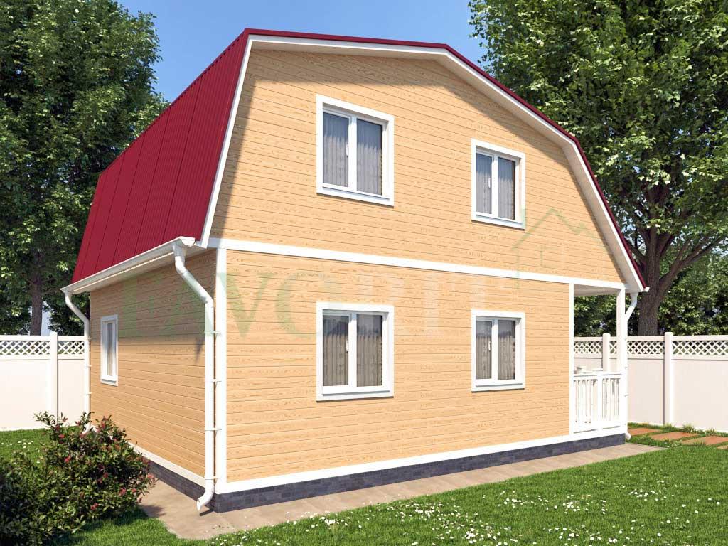 Каркасный дом 6х6 с террасой 1,5х6 – фото 2