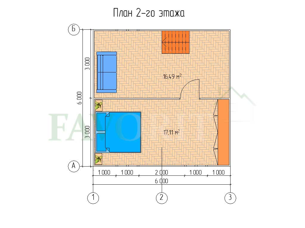 Планировка 2 этажа каркасного дома 6х6 с террасой и верандой 1,5х3