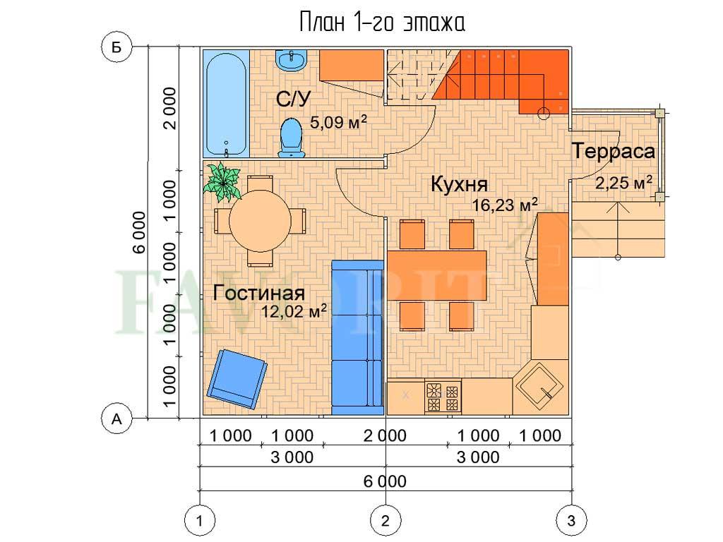 Планировка 1 этажа каркасного дома 6х6 с террасой 1,5х1,5
