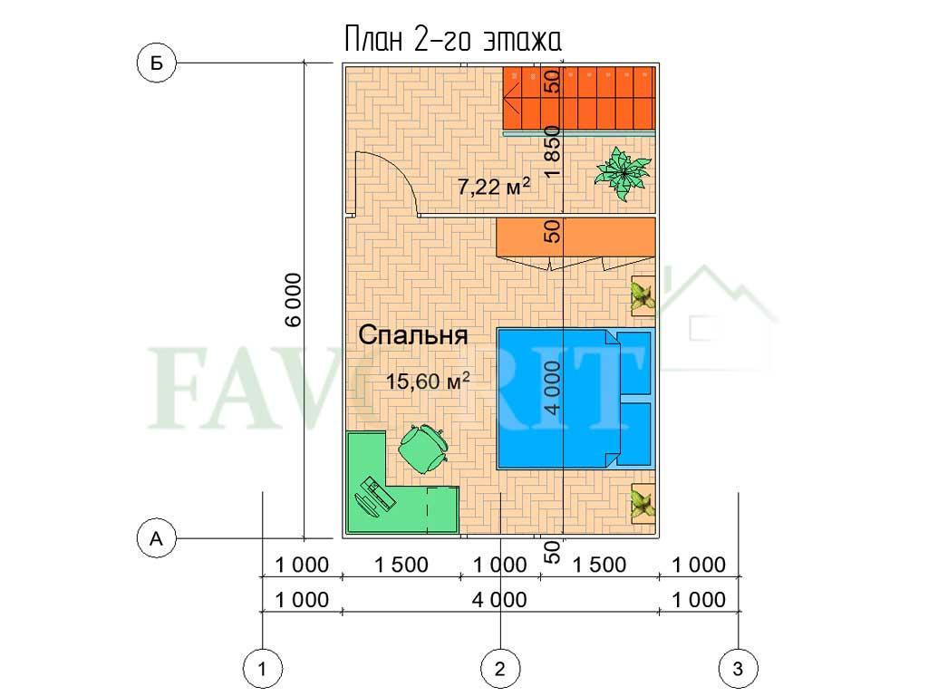 Планировка 2 этажа каркасного дома 6х6 с террасой 1,5х1,5