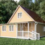 Каркасный дом 6х6 с террасой 2х2 и верандой 2х4 – фото 1