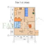 Планировка 1 этажа каркасного дома 6х6 с террасой 2х2 и верандой 2х4