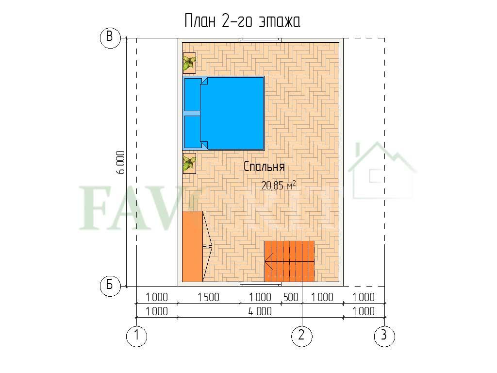 Планировка 2 этажа каркасного дома 6х6 с террасой 2х2 и верандой 2х4