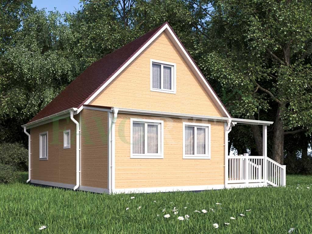 Каркасный дом 6х6 с террасой 2х2 и верандой 2х4 – фото 2