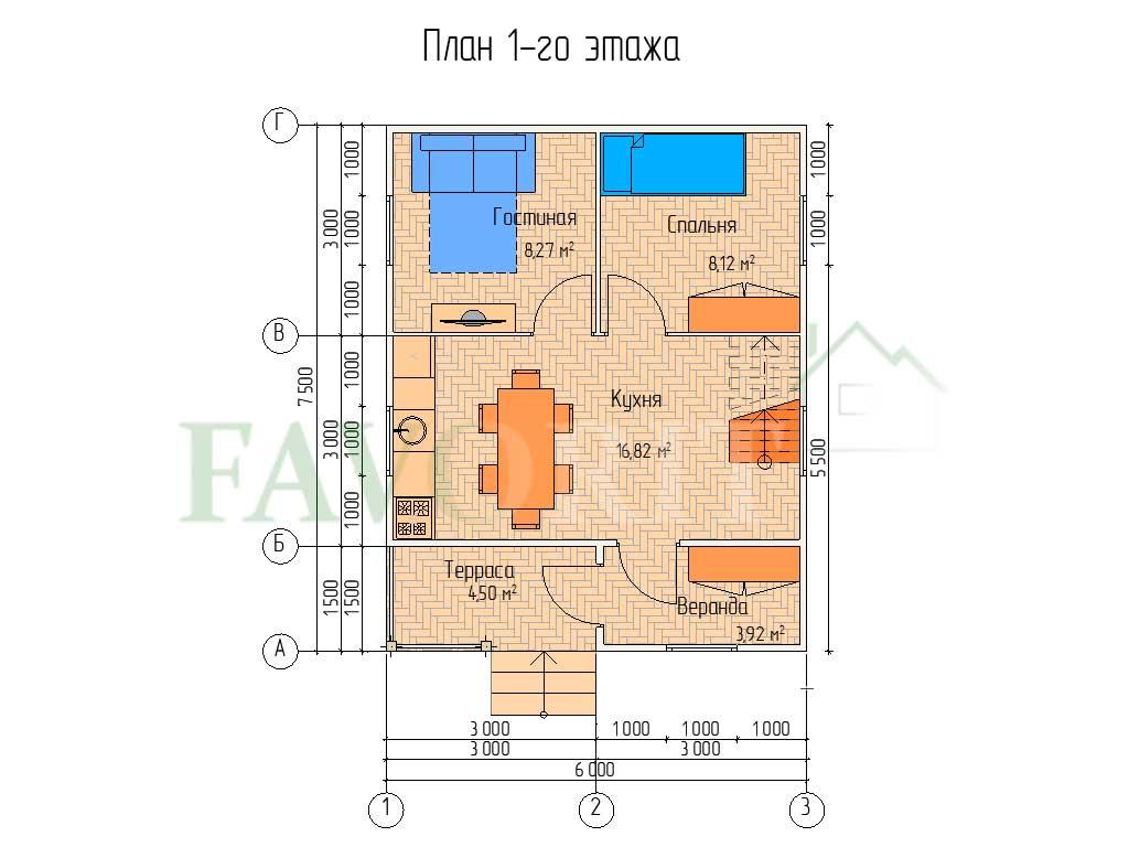 Планировка 1 этажа каркасного дома 6х6 с террасой и верандой 1,5х3