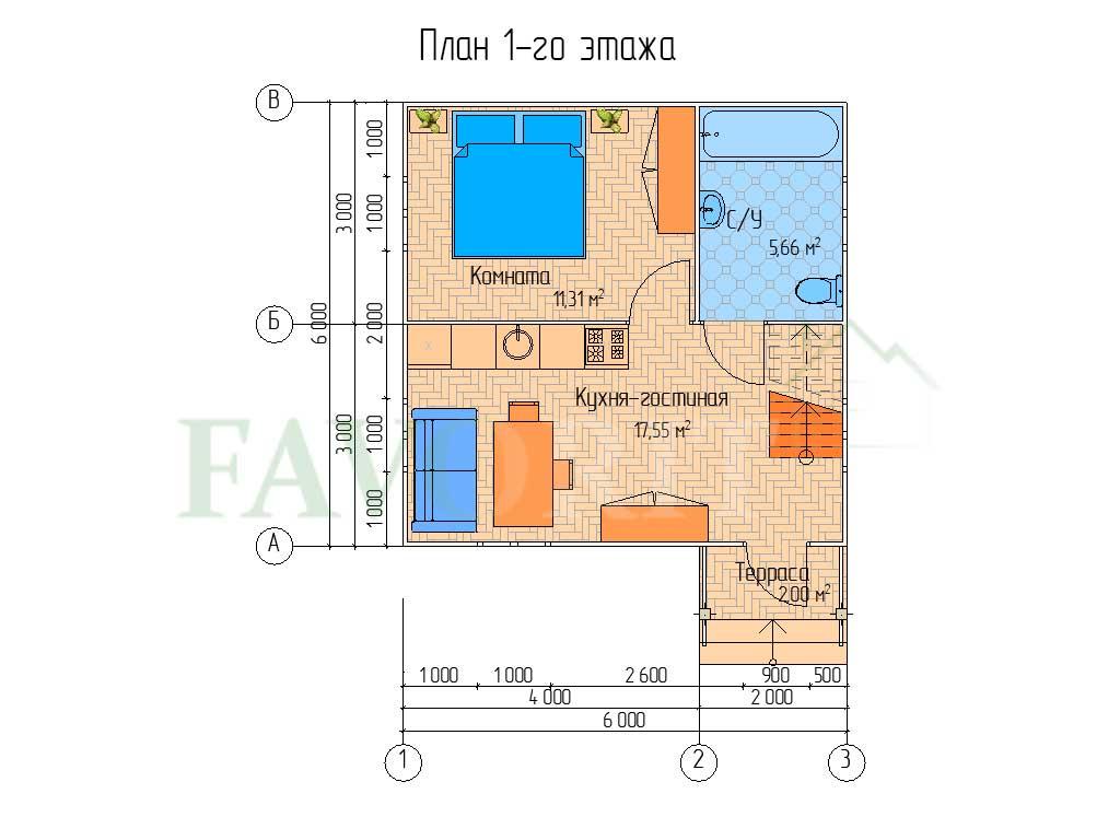 Планировка 1 этажа каркасного дома 6х6 с террасой 1х2