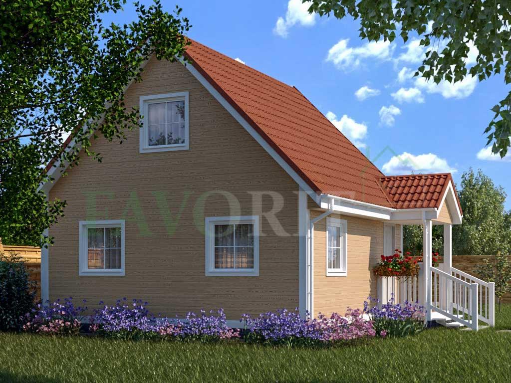 Каркасный дом 6х6 с террасой 1х2 – фото 2