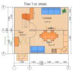 Планировка 1 этажа каркасного дома 7х6