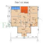 Планировка 1 этажа каркасного дома 8х6 с террасой 2х4