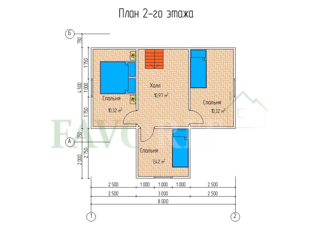Планировка 2 этажа каркасного дома 8х6 с террасой 2х4