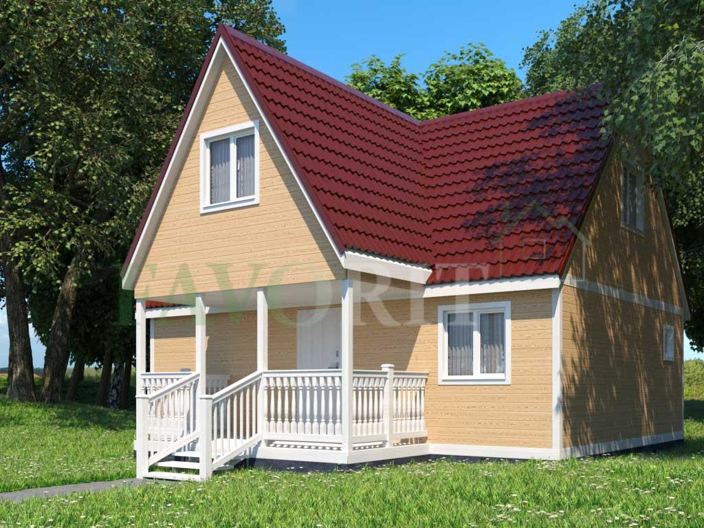 Каркасный дом 8х6 с террасой 2х4 – фото 2