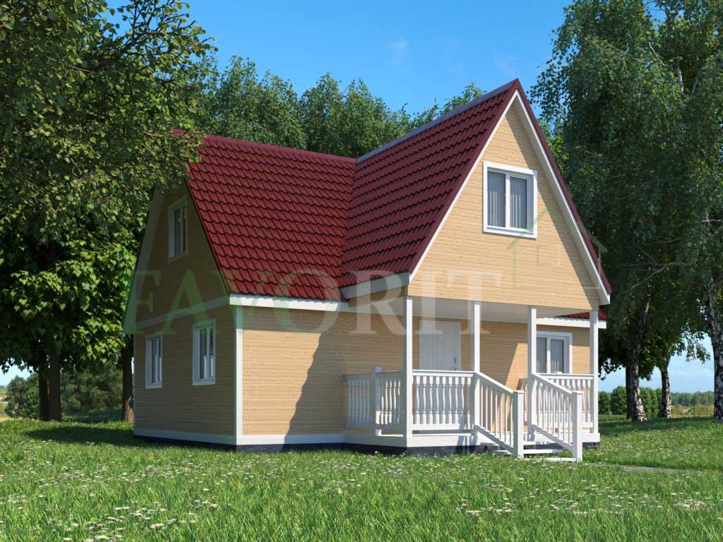 Каркасный дом 8х6 с террасой 2х4 – фото 1