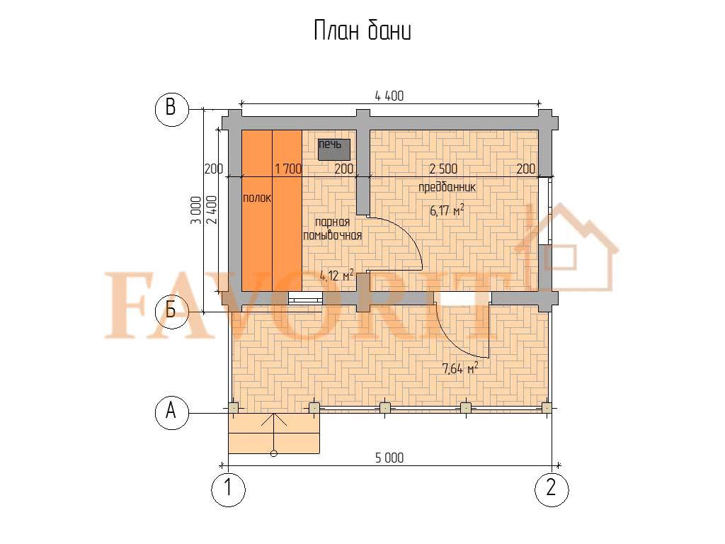 Планировка бани 3х5 из оцилиндрованного бревна с террасой 1,5х5 (пятистенок)