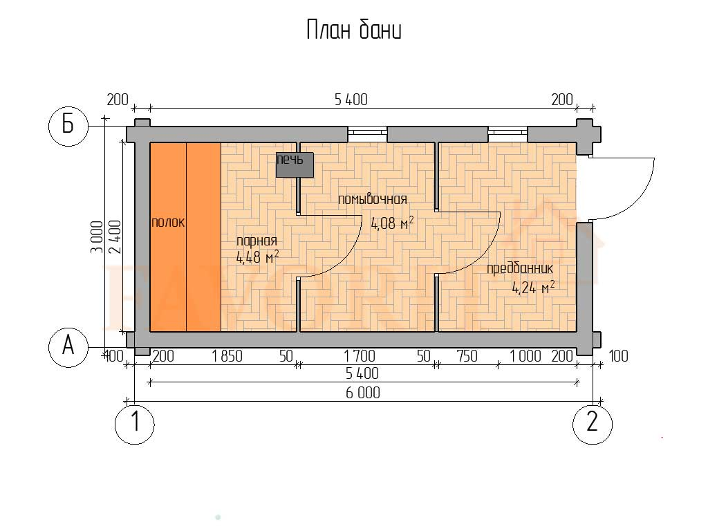 Планировка бани 3х6 из оцилиндрованного бревна