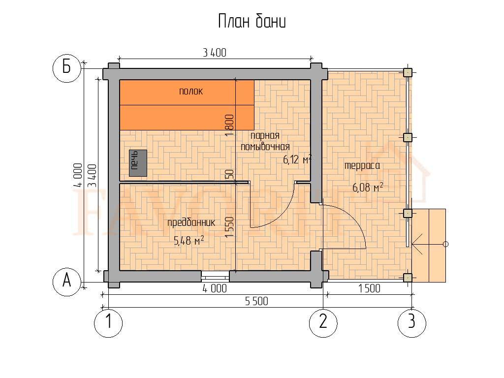Планировка бани 4х4 из оцилиндрованного бревна с террасой 1,5х4